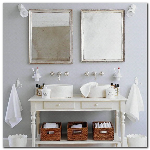 French Farmhouse Style White Bathroom Sink Units