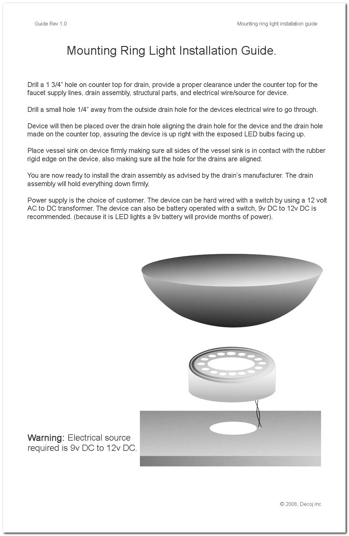 Glass Vessel Sink Mounting Ring Light White