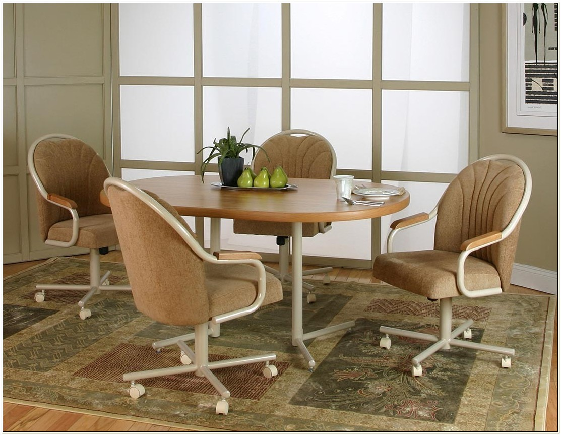 5 Piece Dinette Set With Caster Chairs