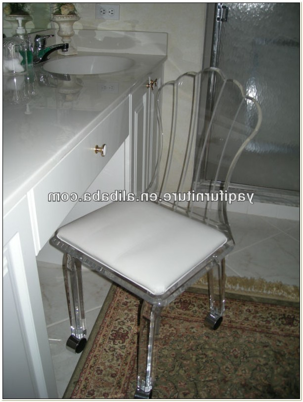 Acrylic Vanity Chair With Wheels