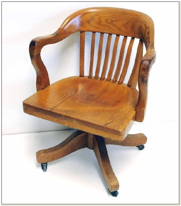 Antique Oak Desk Chair Swivel