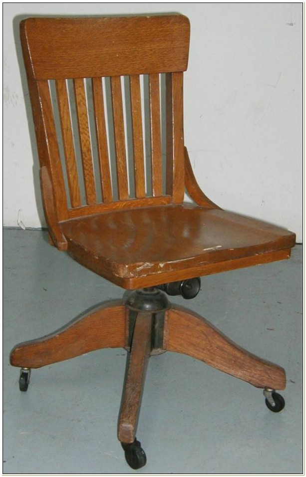 Antique Oak Office Chair Swivel