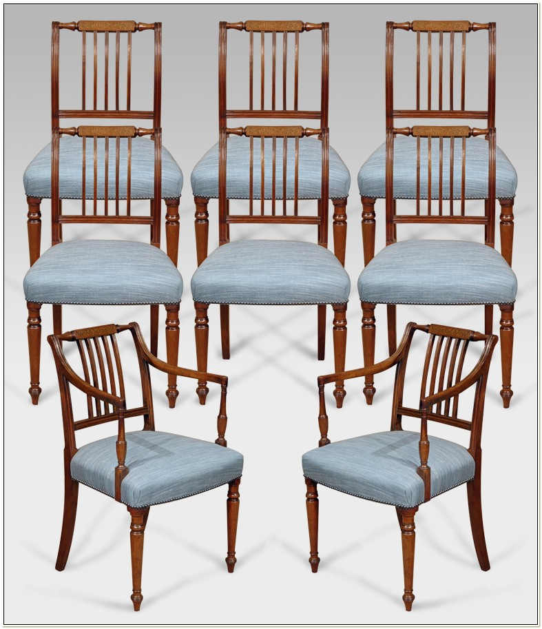 Antique Oak Spindle Back Dining Chairs