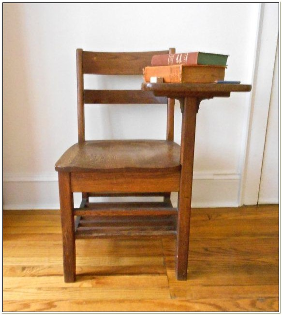 Antique School Desk Chair Combo