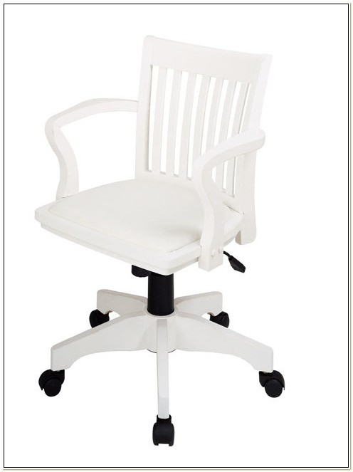 Antique White Bankers Chair With Arms