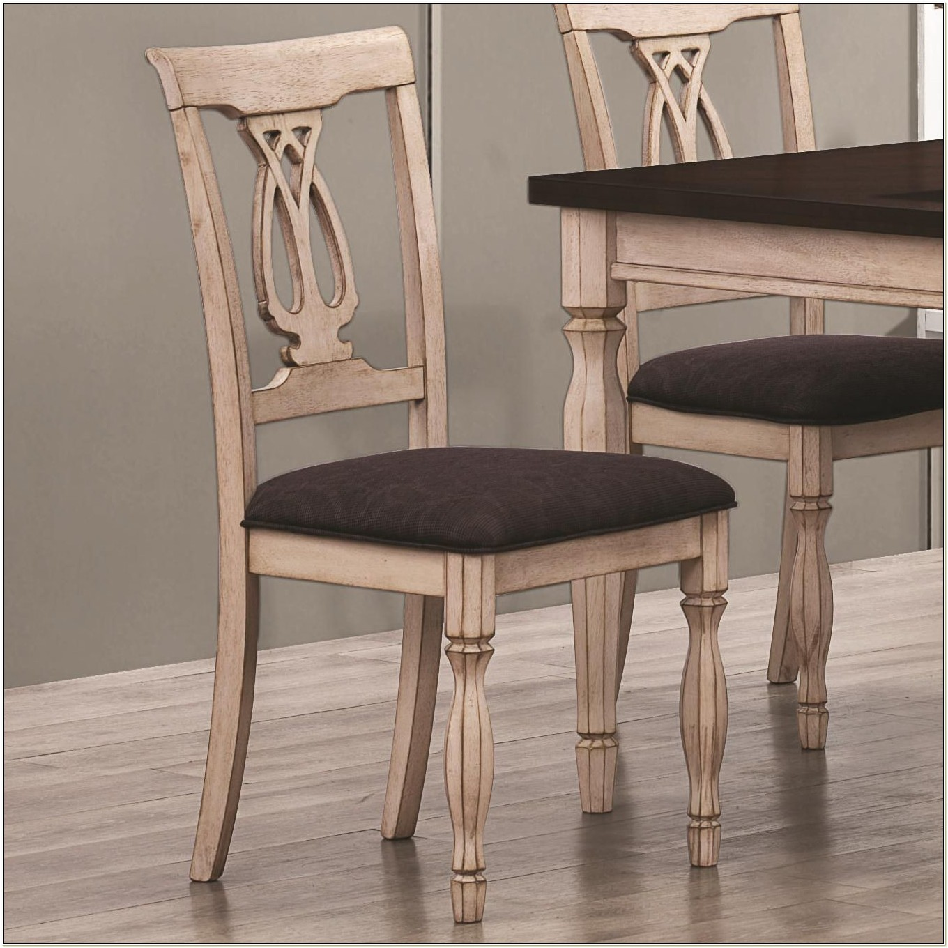 Antique White Wood Dining Chairs