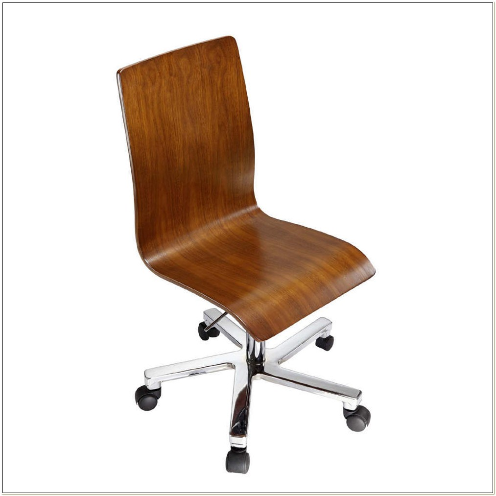 Armless Ergonomic Wooden Office Chair