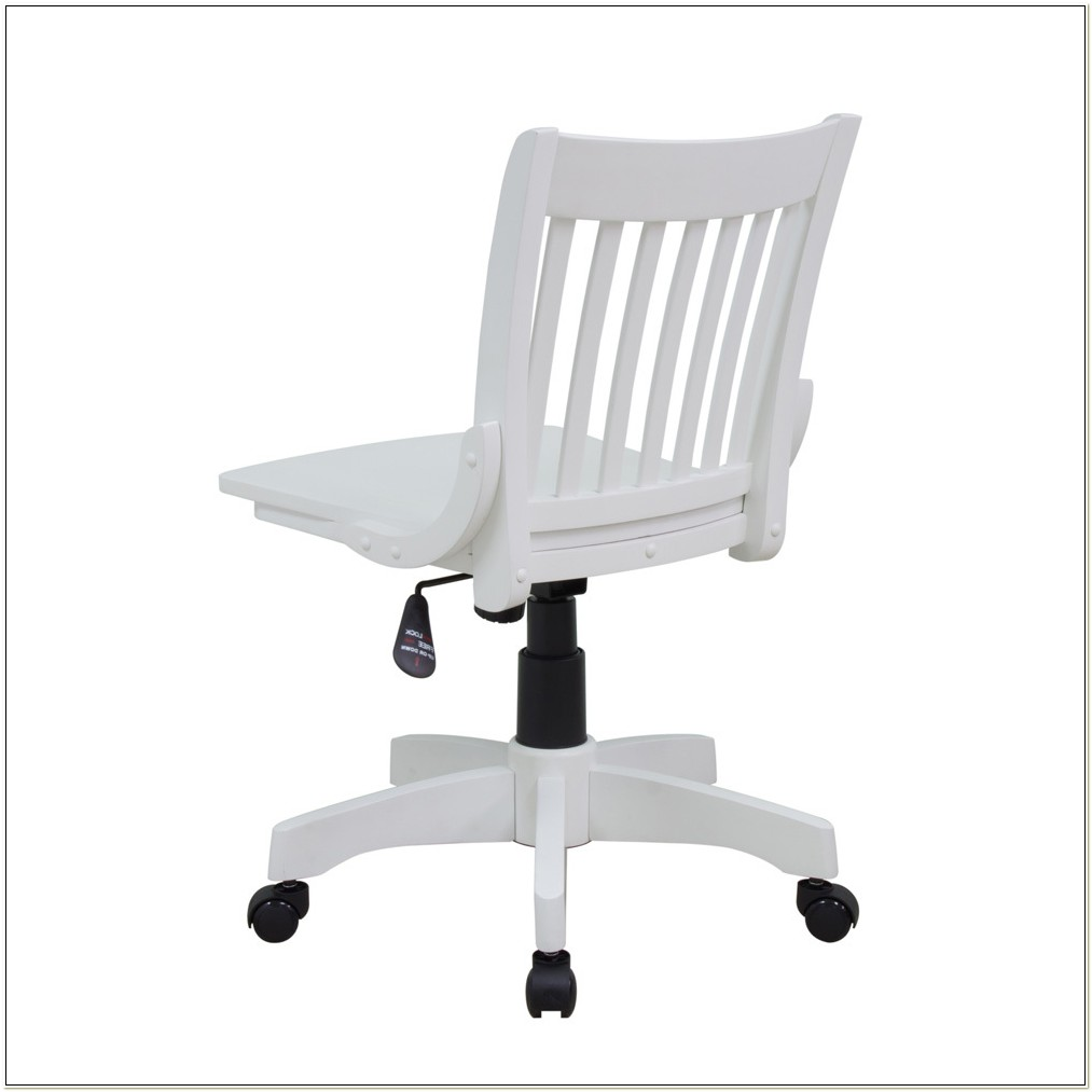 Armless Wood Bankers Chair Antique White