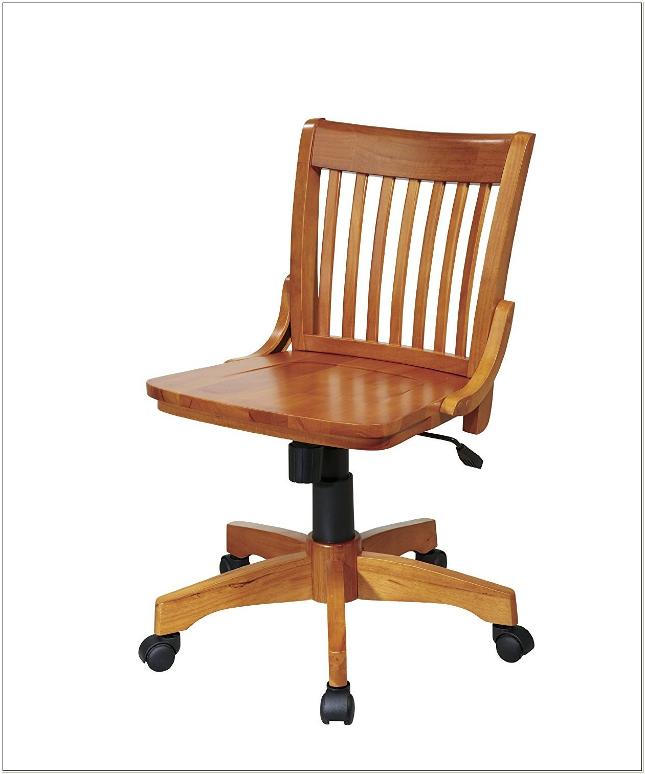 Armless Wood Office Chair With Wheels