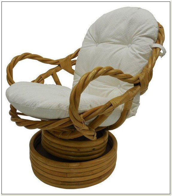Bamboo Rattan Swivel Rocking Chair
