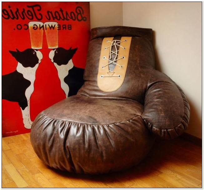 Baseball Glove Microsuede Bean Bag Chair Camel