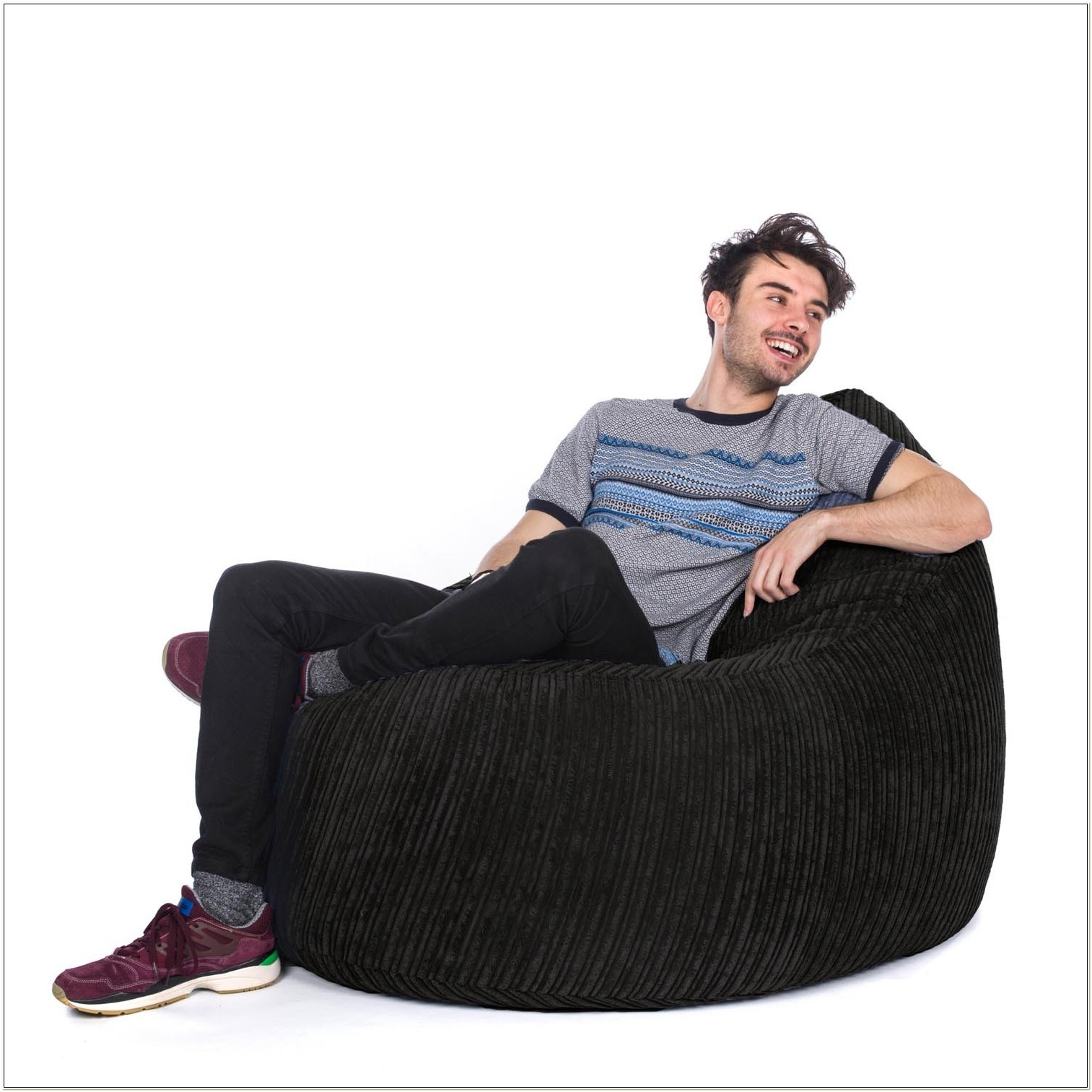 Black Corduroy Bean Bag Chair