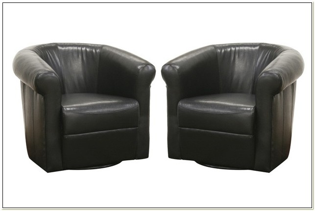 Black Leather Barrel Swivel Chair