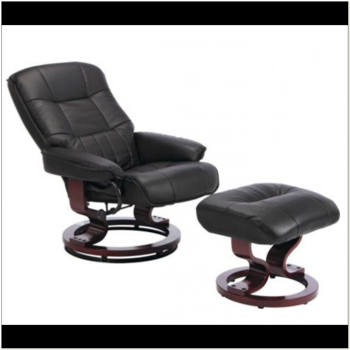 Black Leather Reclining Chair And Footstool