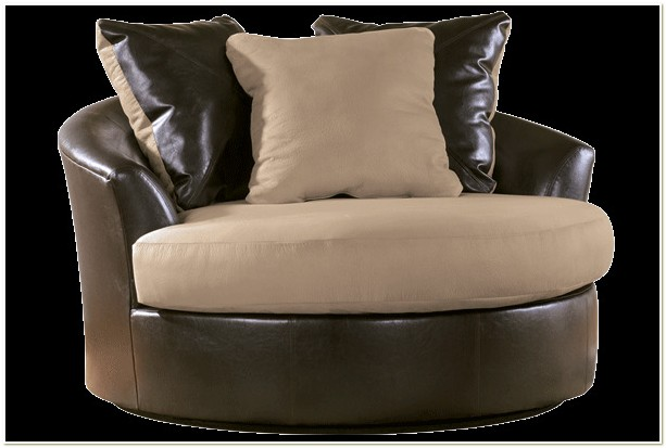 Black Microfiber Round Swivel Chair
