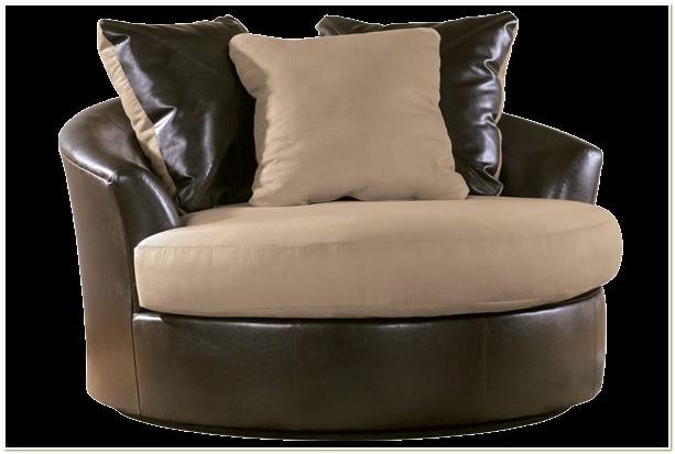 Black Microfiber Round Swivel Chair
