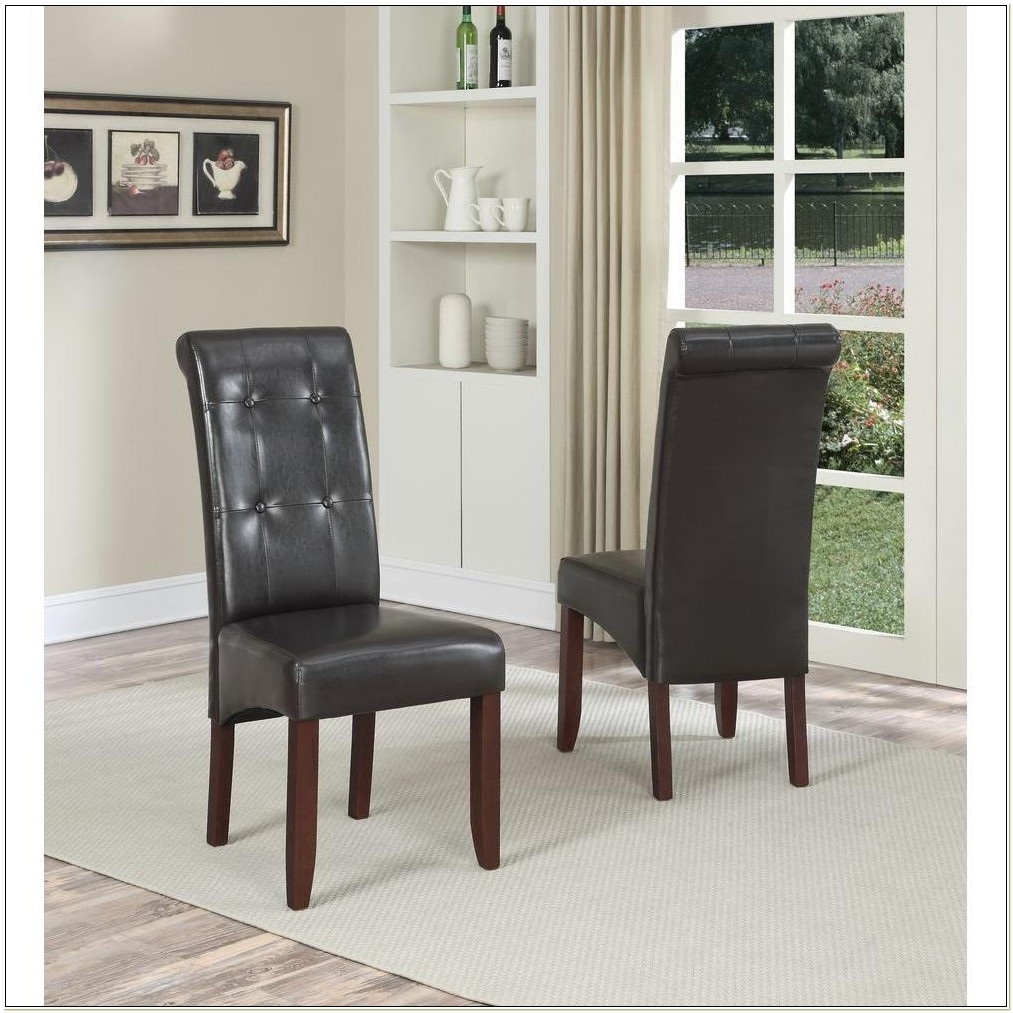 Brown Faux Leather Parsons Chairs