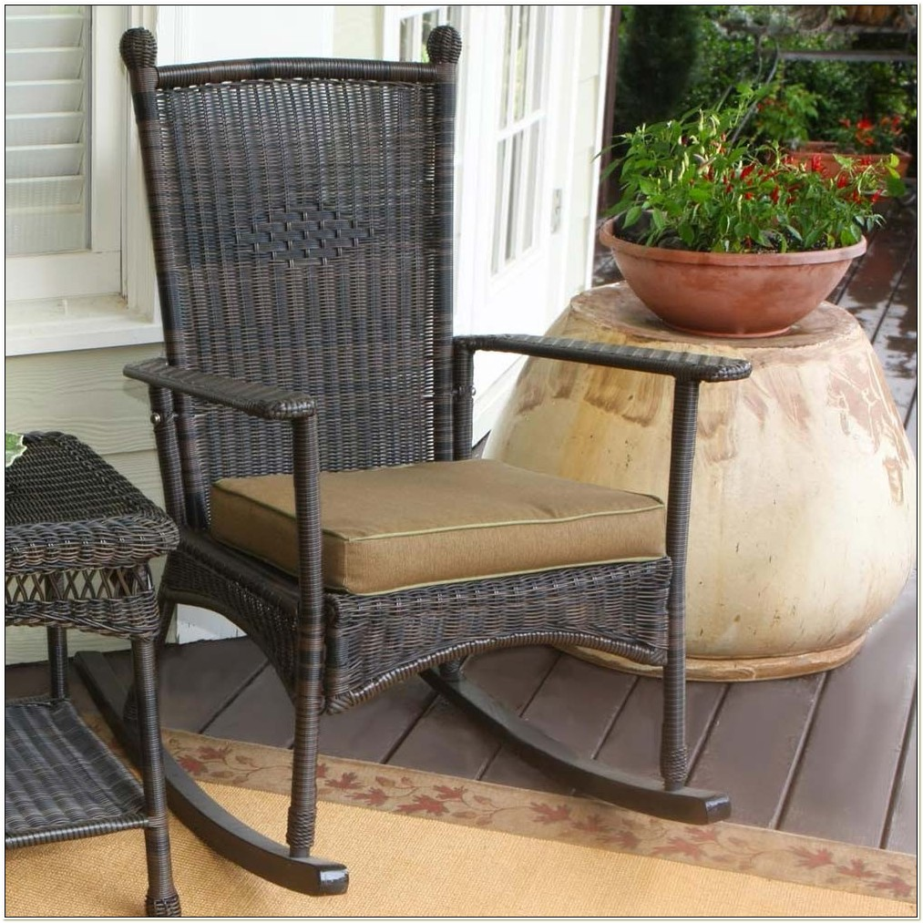 Brown Resin Wicker Rocking Chairs