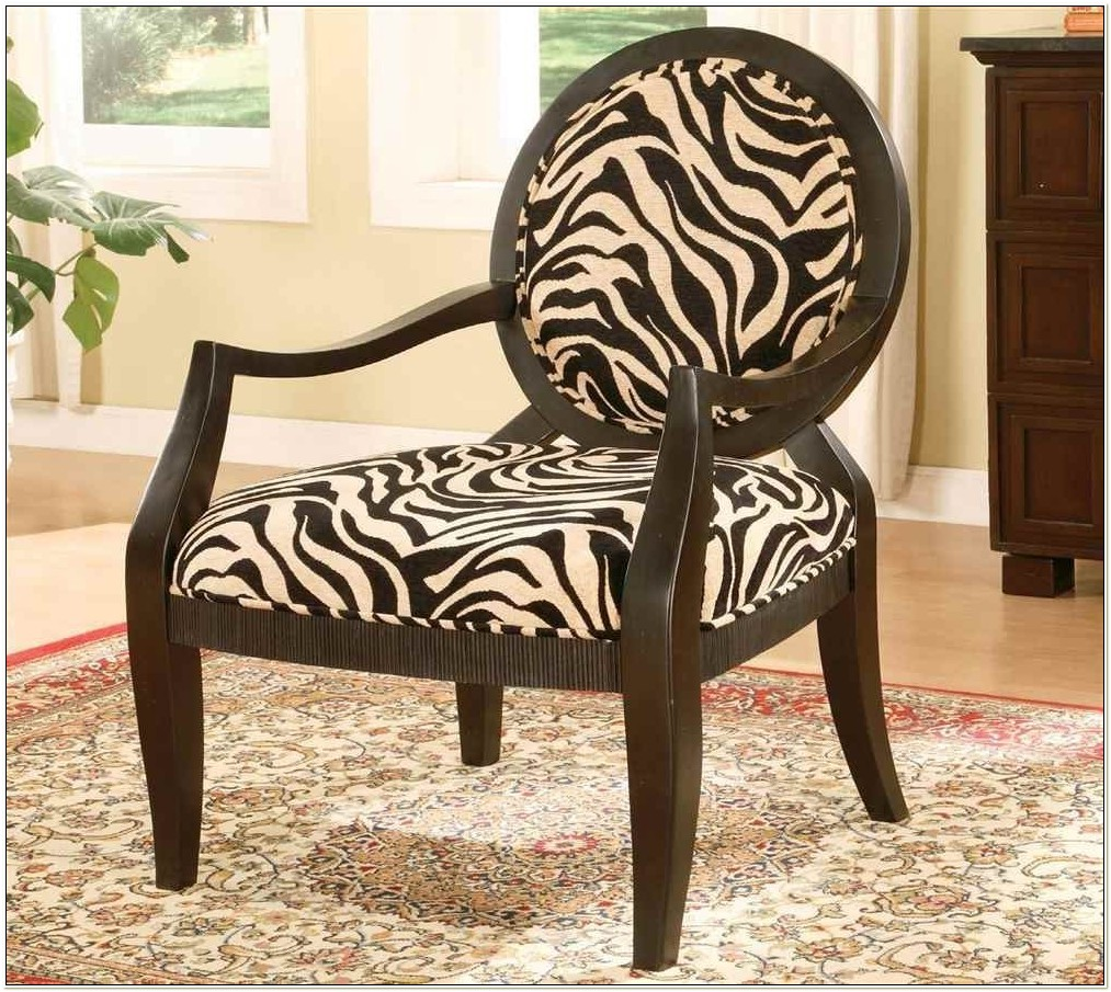Brown Zebra Print Accent Chair
