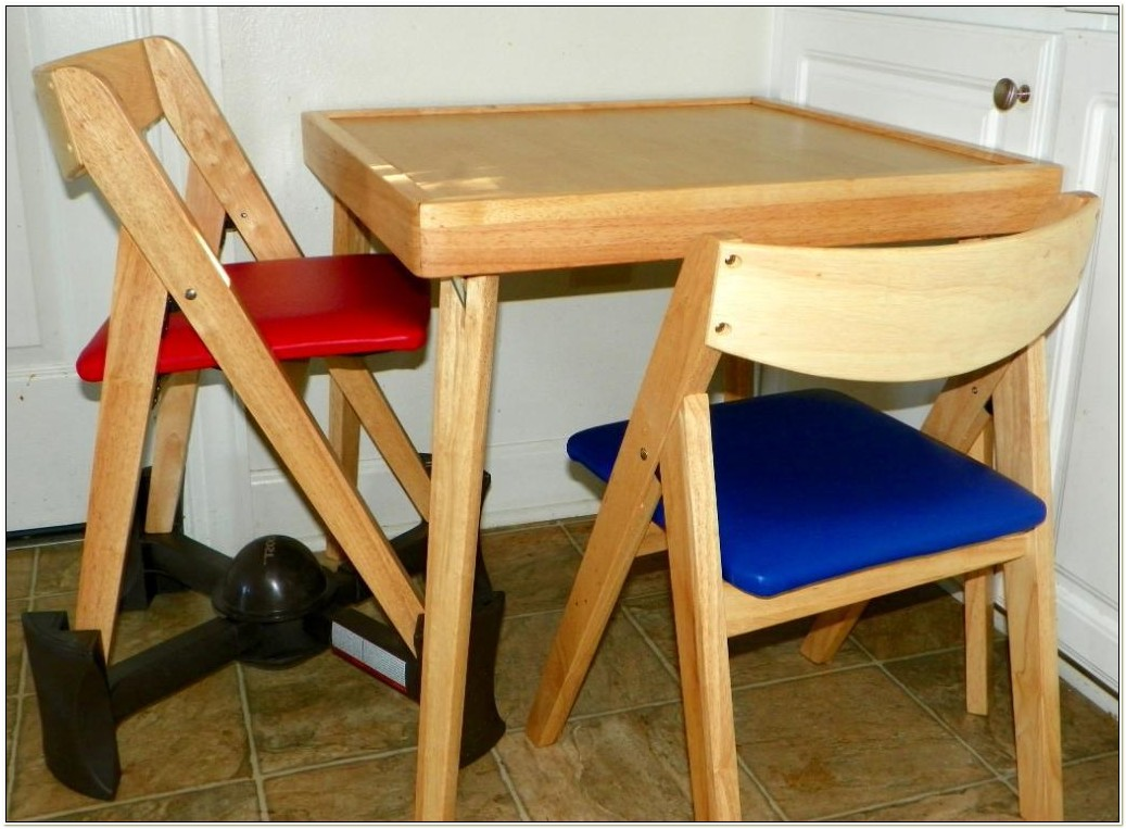 Childrens Wood Folding Table And Chairs