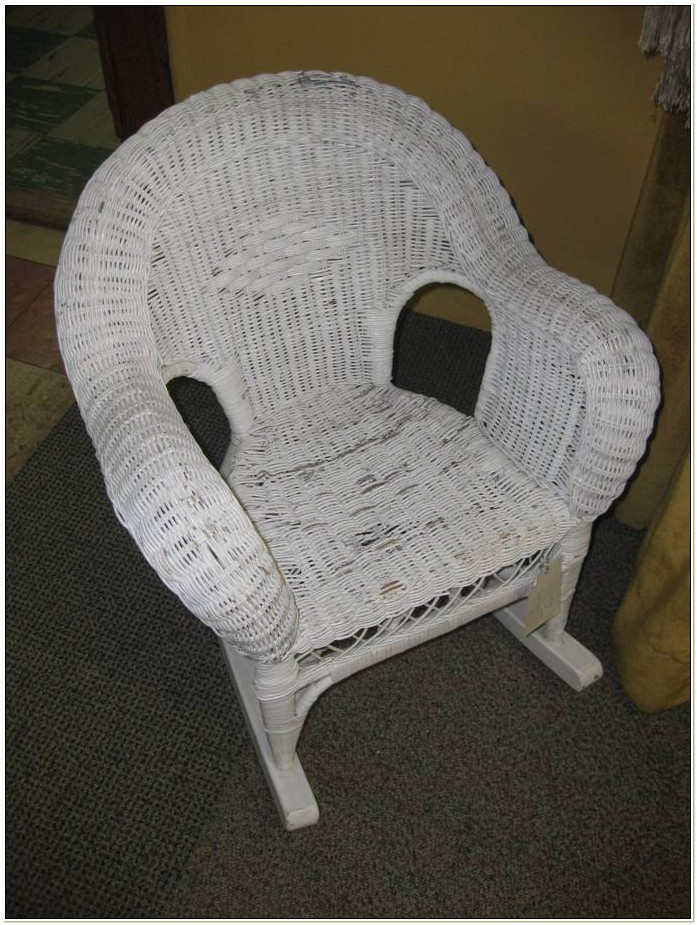 Childs White Wicker Rocking Chair