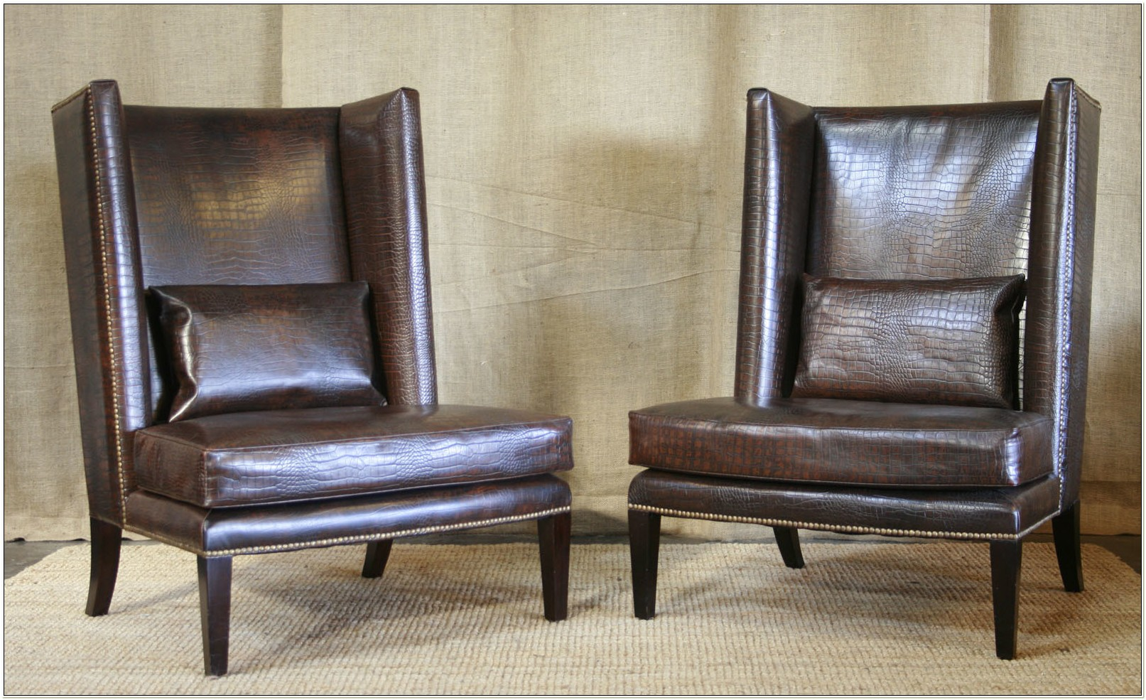Contemporary Leather Wing Chair