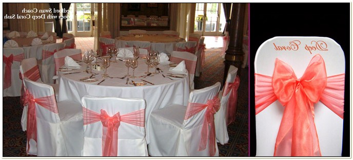 Coral Sashes For Wedding Chairs