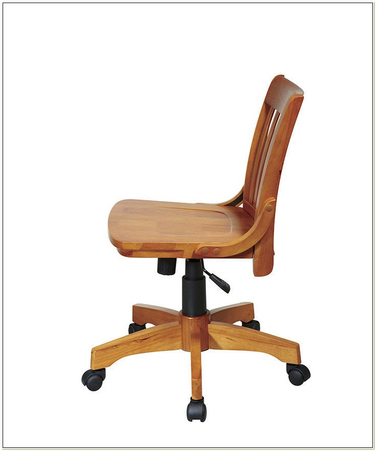 Deluxe Armless Wood Bankers Desk Chair