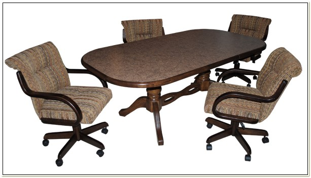 Dinette Set With Wheeled Chairs