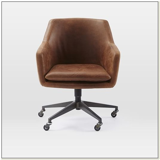 Distressed Brown Leather Office Chair