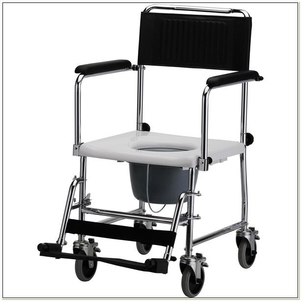 Drop Arm Transport Commode Chair