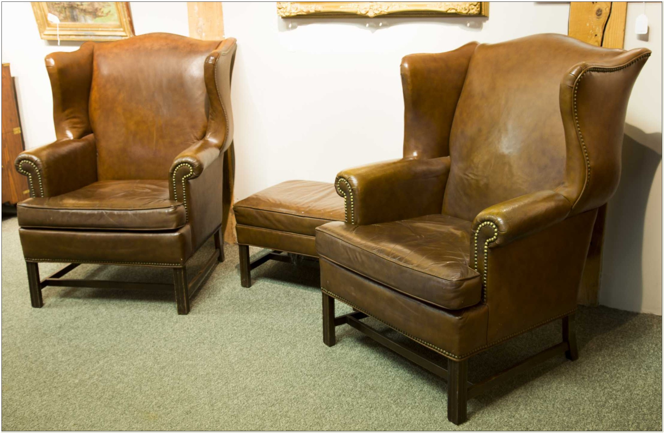 Ethan Allen Leather Chairs And Ottomans
