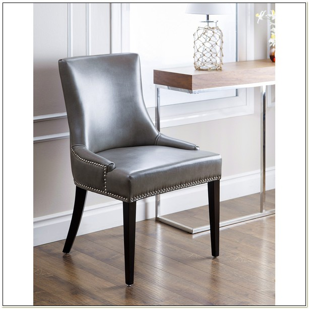 Faux Leather Dining Chairs With Nailheads