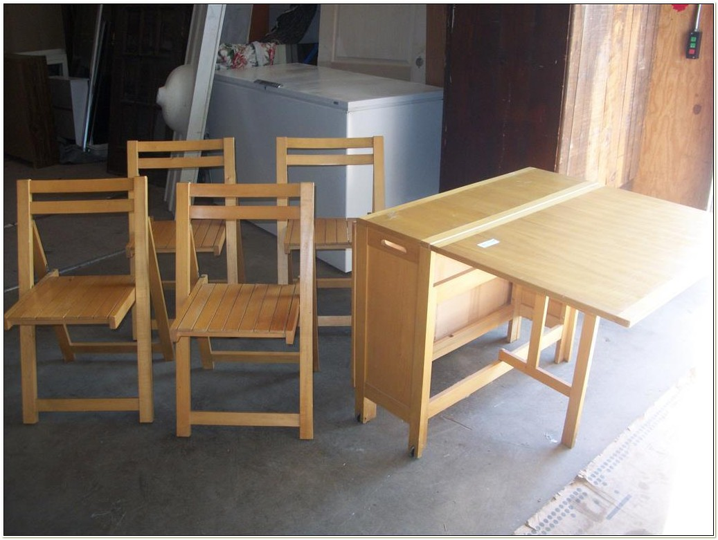Folding Table With 4 Chairs Inside