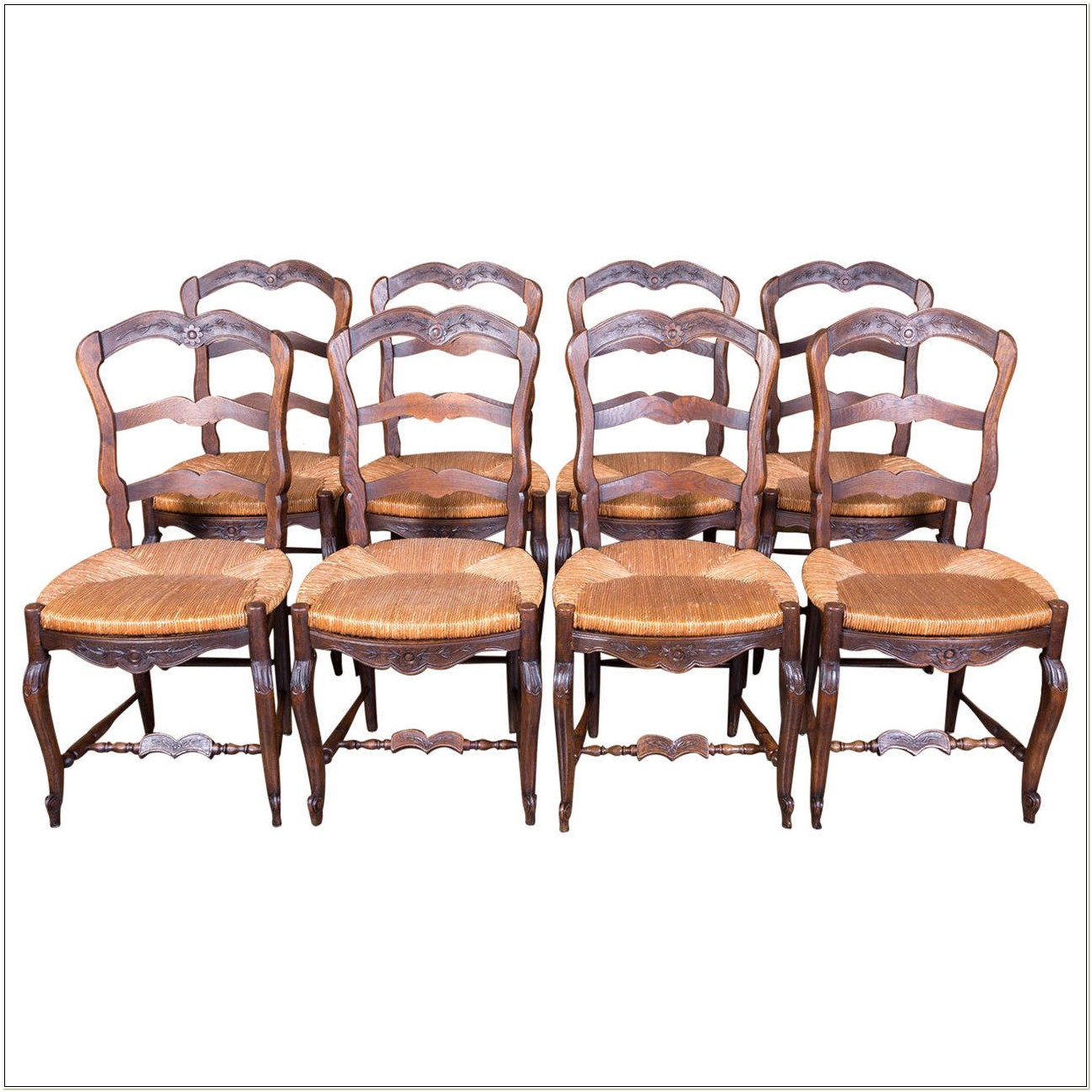 French Country Ladder Back Chairs Rush Seats