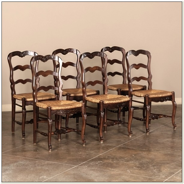 French Ladder Back Rush Seat Dining Chairs