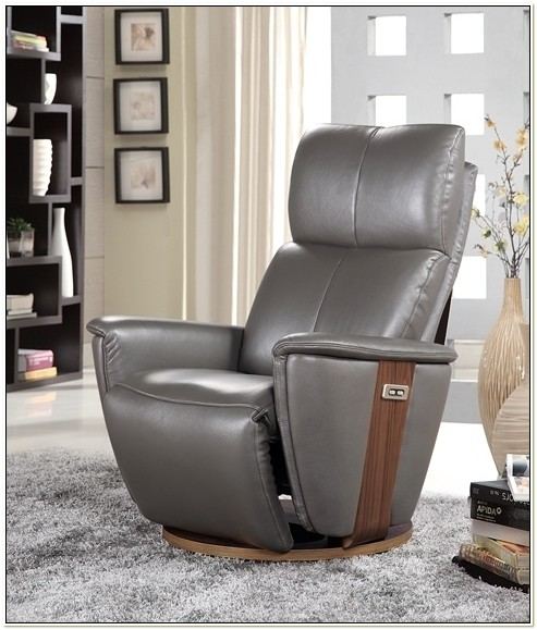 Grey Leather Electric Recliner Chair