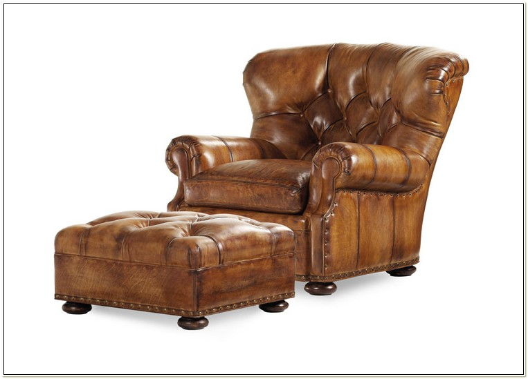 Hancock Moore Leather Chair Ottoman