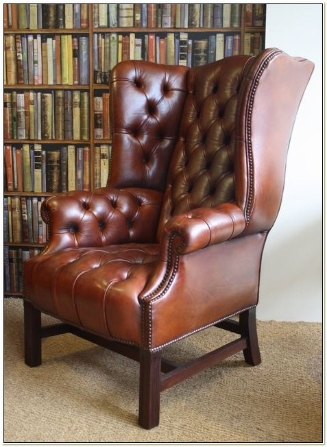 High Back Leather Wingback Chair
