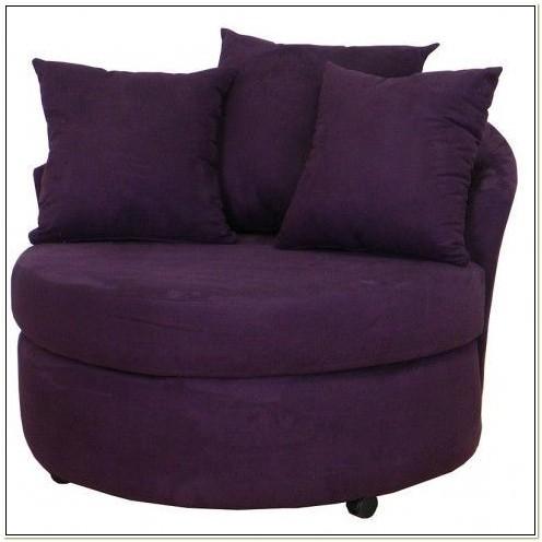 Homebasica Dark Brown Microfiber Round Swivel Chair