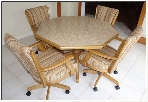 Kitchen Dinette Sets With Rolling Chairs
