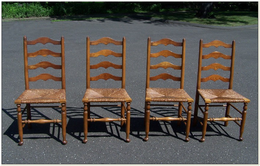 Ladder Back Chairs With Rush Seats Antique