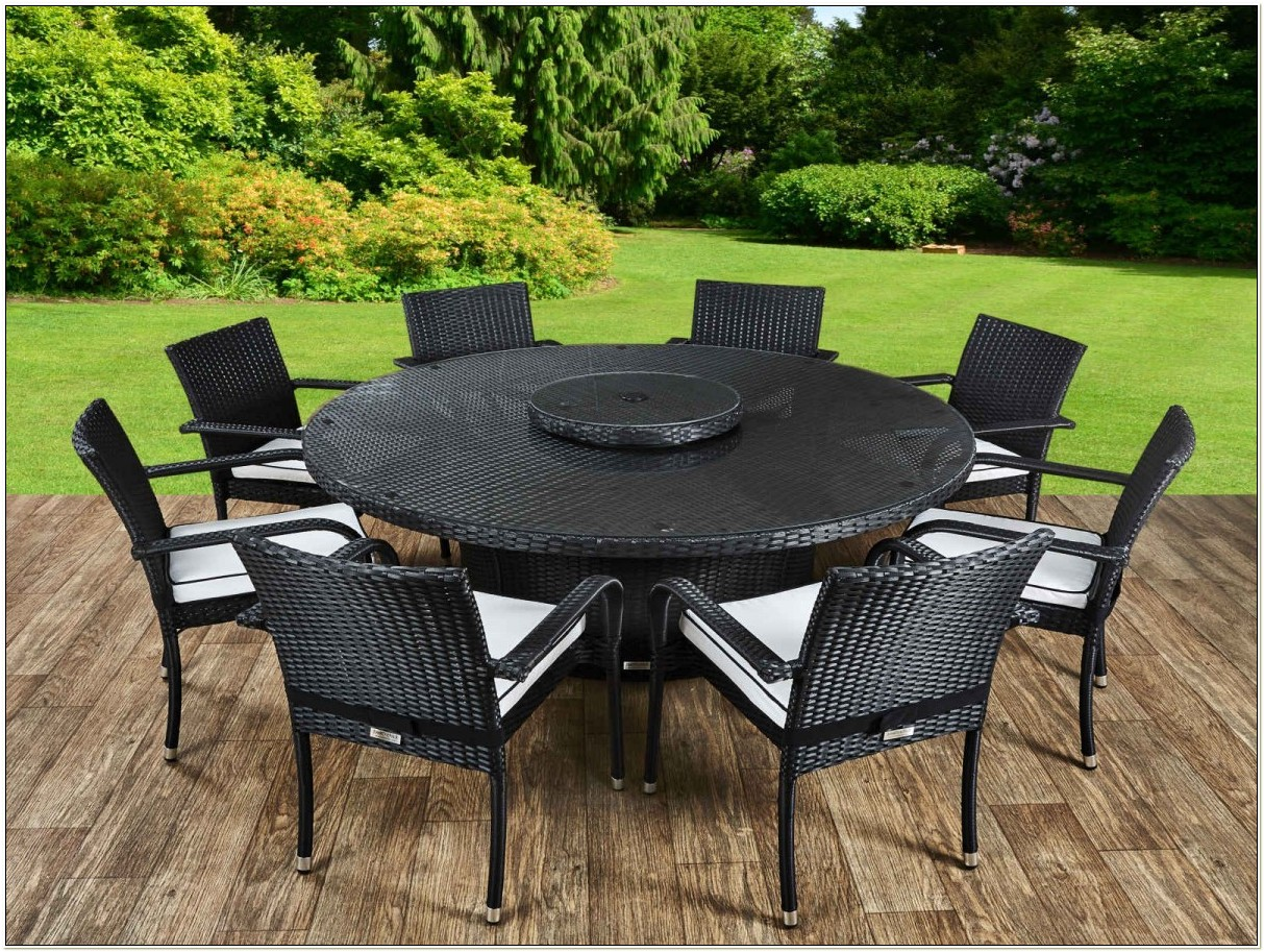Large Round Rattan Garden Table And Chairs