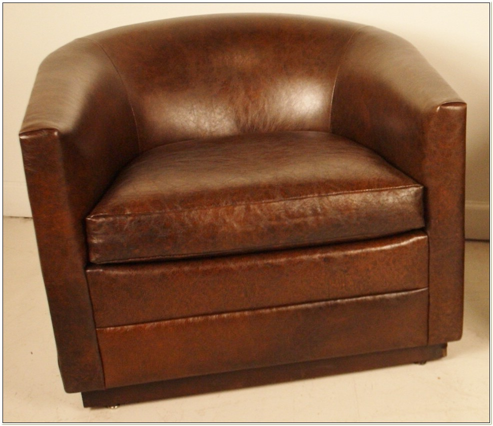 Leather Barrel Swivel Chairs