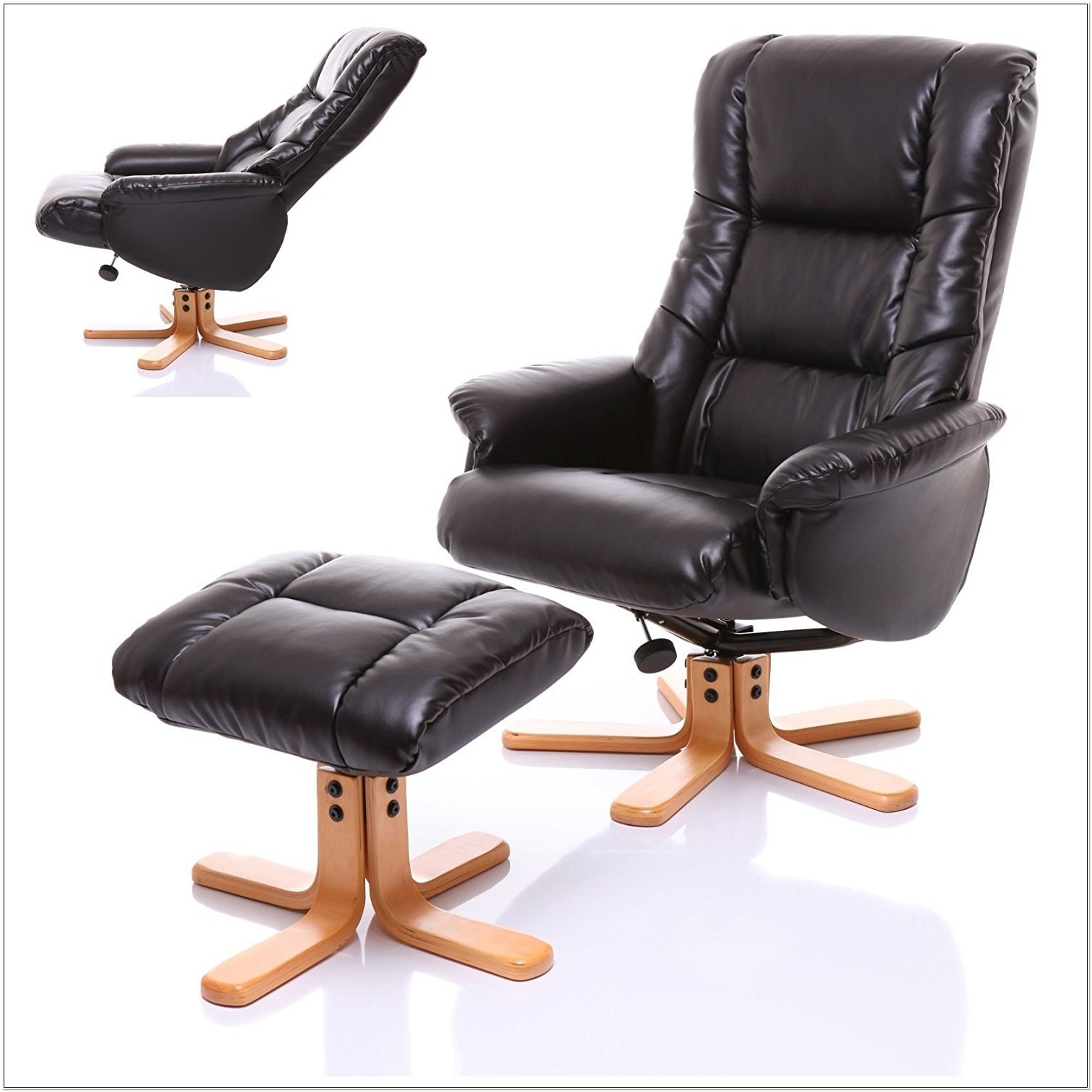 Leather Recliner Swivel Chair With Footstool