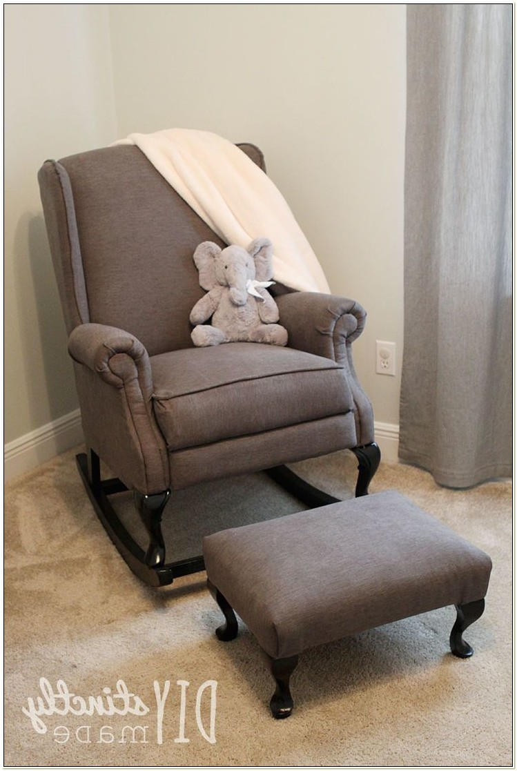 Leather Rocking Chair And Footstool