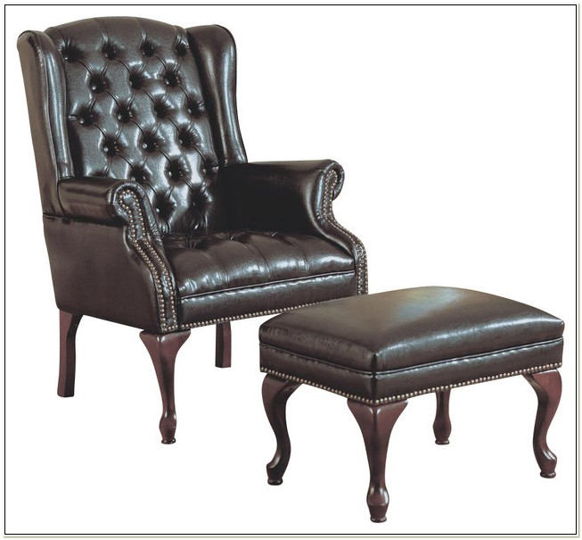 Leather Wingback Chair With Ottoman