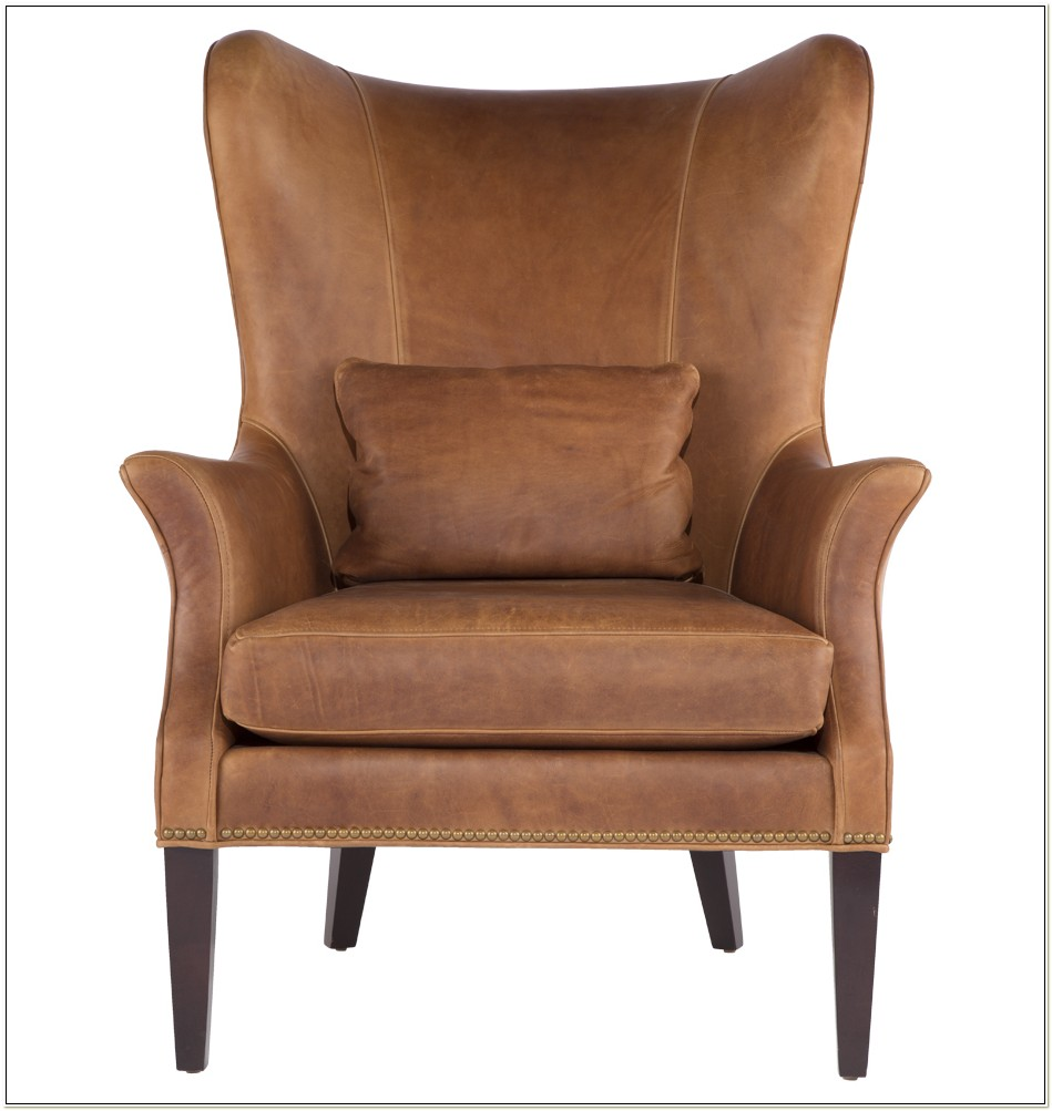 Modern Leather Wing Chair