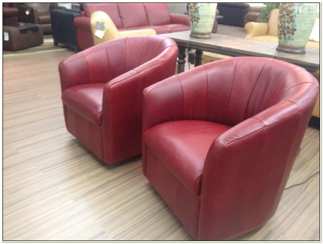 Natuzzi Leather Barrel Swivel Chair