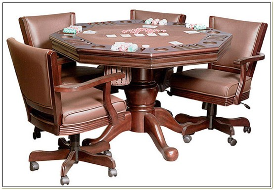 Oak Poker Table And Chairs
